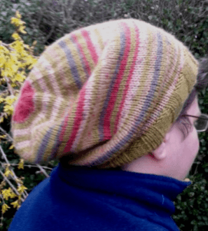 Handknitted green, brown and red slouch hat