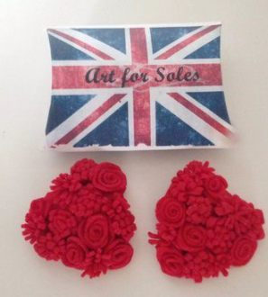 Queen of hearts felt rose heart shoe clips - any colour