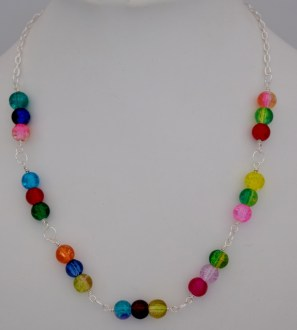 Multicoloured Crackle Glass Bead Necklace