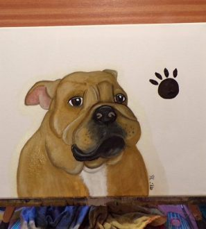 "Original Oil painting caricature ""Bullydog"" puppy"