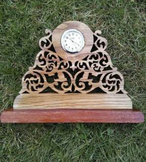 Oak and mahogany fretwork clock