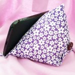 Book or Tablet cushion holder – purple floral pattern