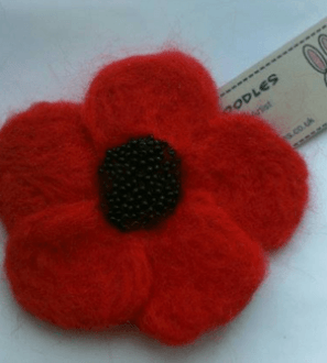 Needle felted remembrance poppy brooch. Conscious Crafties is donating handmade crafts to support Christine Miserandino, author of the Spoon Theory.