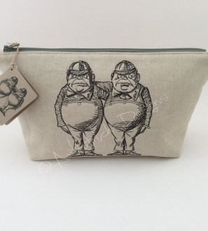 Tweedledum and Tweedledee Cosmetic Bag, Pencil Case, Storage Bag - can be personalised