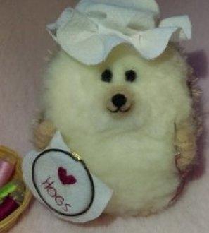 Sewing Nanna Hog - Miniature Needlefelt Hedgehog mothers day gift