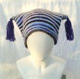 blue stripe tassel hat front