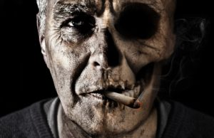 old man's face while smoking