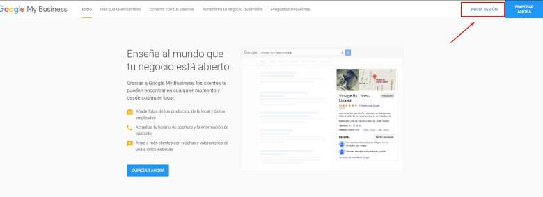 google my business acceso
