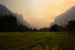 Picture of Yosemite Valley, full of wildfire smoke