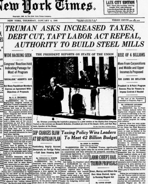 Front page of the New York Times on January 6, 1949, with news of President Truman's State of the Union message.  Oddly, via Conservapedia