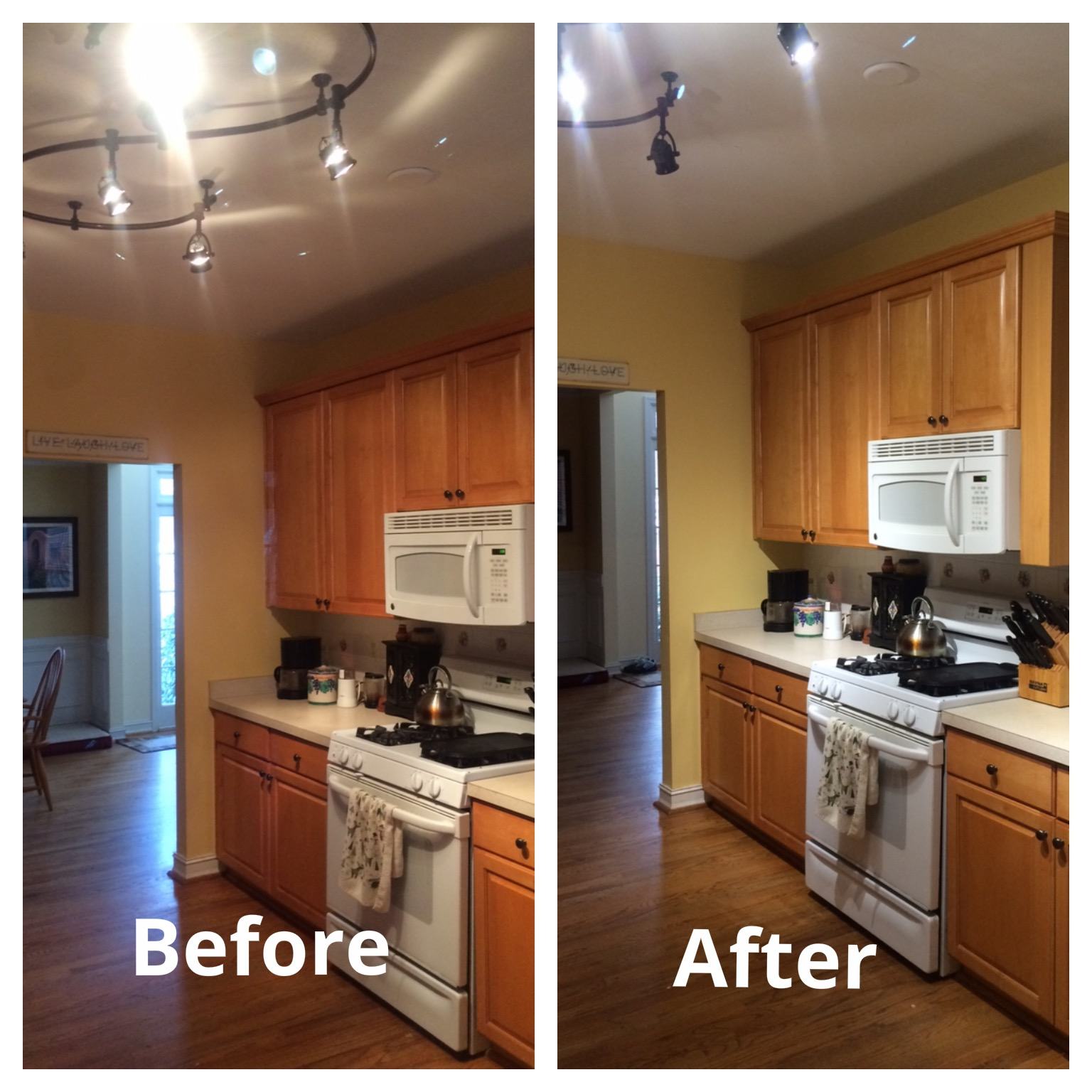 replace fluorescent light fixture in kitchen antique cabinet led lights halogens update  energy