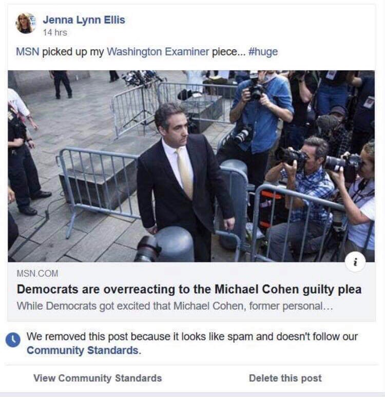 Facebook censored Jenna Rives' article discussing Michael Cohen. Screenshot provided by Jenna Rives.