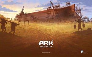 An artist's concept of Noah's Ark in the desert