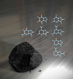 A meteorite and some of the purine bases found in it, part of the NASA DNA find.