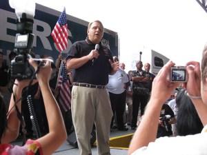 Jimmy Hoffa speaks at a Teamster rally in 2007