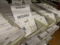 "Dead people voting: ballots returned marked ""deceased"". Part of a likely voter fraud coup attempt. Ballot harvesting circumvents this kind of check. Votes for the dead are a prime example of voter fraud in America."