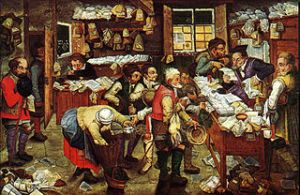 "Pieter Brueghel the Younger, ""Paying the Tax Collector"" Oil on panel."