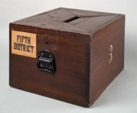 Ballot box, symbol of elections. The Texas voter ID law will stop people from stuffing this, and hopefully other kinds of voter fraud. If Donald Trump doesn't insist on this kind of backup, he'll likely lose the election.