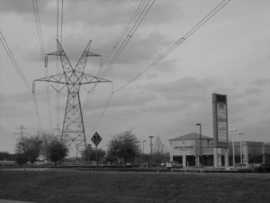 An overhead power line. Hurricane Sandy raises questions about burying these lines, or opening them up to competition.