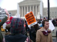 March for Life participants face counterdemonstrators. They also protest a Supreme Court that violated the Constitution in at least one particular case.
