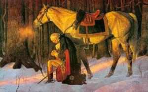 Washington at prayer - a nuclear option for a non-nuclear age. Washington would have later reason for thanksgiving. His is an example of exceptional statesmanship.