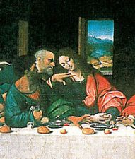 Judas, moneybag in hand, at the Last Supper