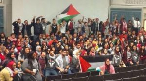 """""""Moderates"""" on a college campus displaying the typical attitude of Palestinians."""