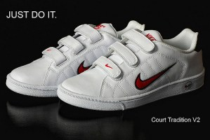 A pair of Nike shoes with the trademark curved checkmark. Nike just jeopardized its brand with its choice of spokesman.