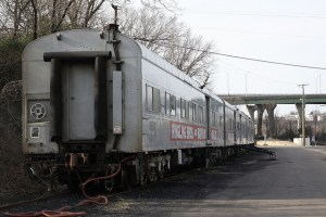 A circus train from the last years of its run.