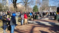 VCDL Lobby Day protest rally on Capitol Square: visible sign of rebellion (peaceful so far)