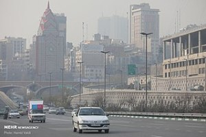 Heavy air pollution in Tehran, Iran