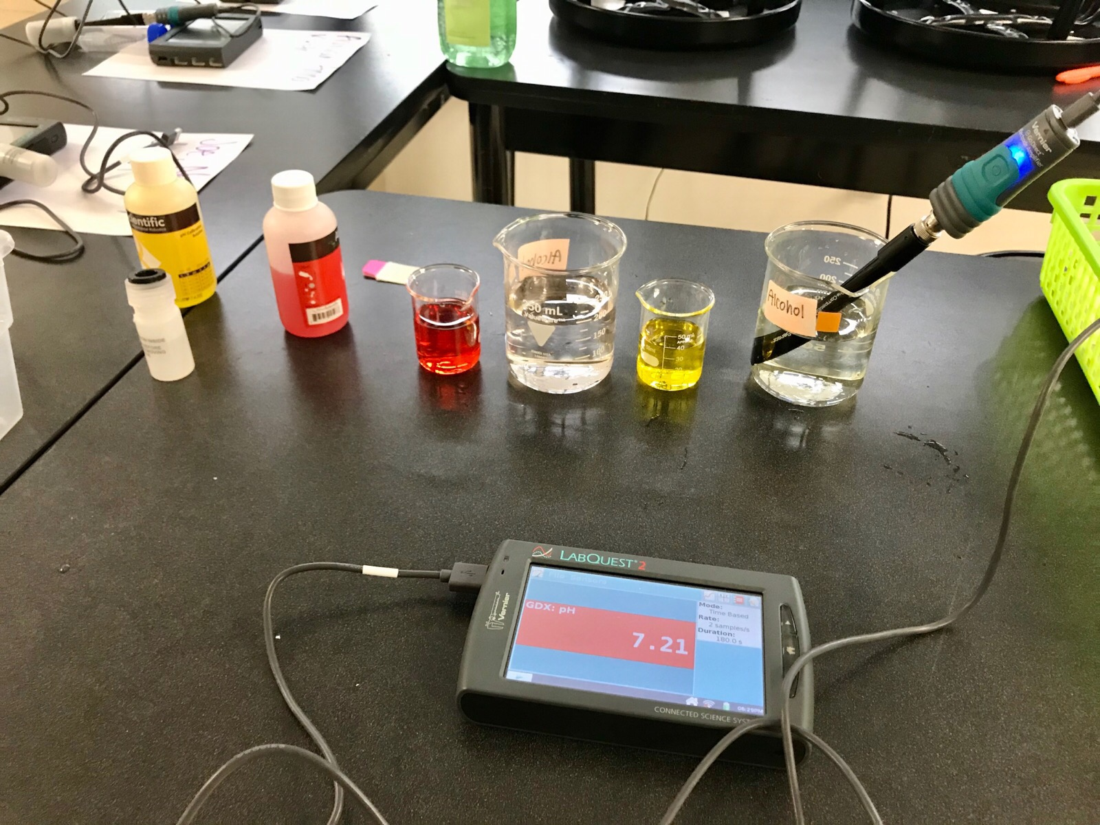 Device and samples lined up ready to test in Ms. Schibuk's Classroom