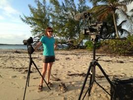 CWFNJ's Stephanie Egger filming on location in the Bahamas