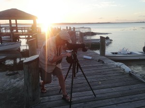 Todd Pover, CWFNJ Biologist,surveying for Piping Plovers during the last bits of daylight.