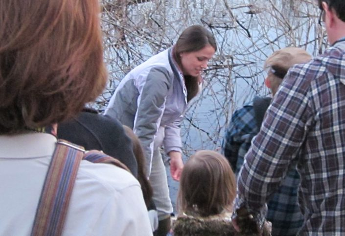 CWF biologist Kelly Triece looking for wildlife in the vernal pool.
