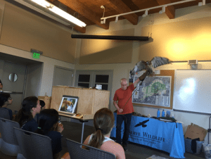 Bill Streeter of Delaware Valley Raptor Center visited to talk about amazing birds of prey, bringing with him their resident educational birds. Campers sat in awe of these raptors like this red-tailed hawk.
