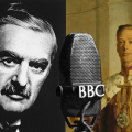 Neville Chamberlain, King George VI and a microphone