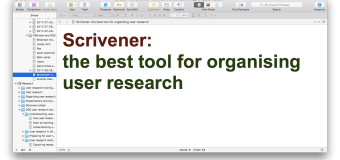 Scrivener: the best tool for organising user research