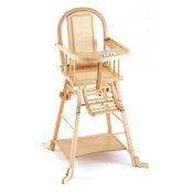 chaise haute bois cannee transformable