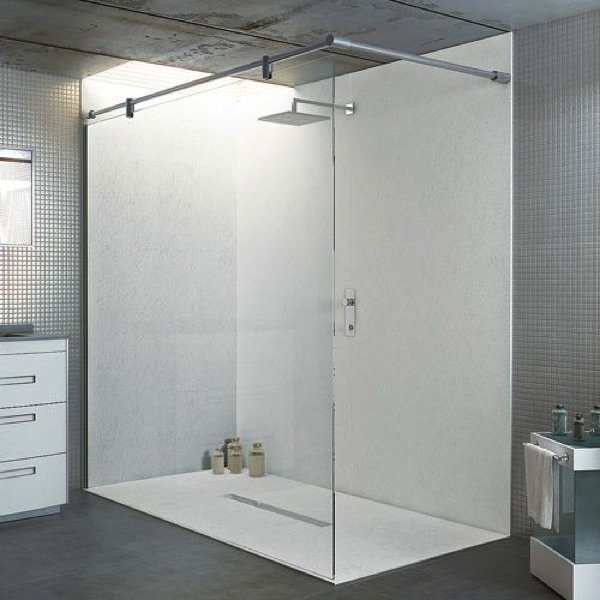 douche italienne blanche avec receveur à encastrer