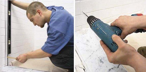 installer le profilé de la paroi de douche