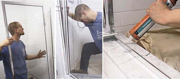 installer les parois de douche dans les profilés