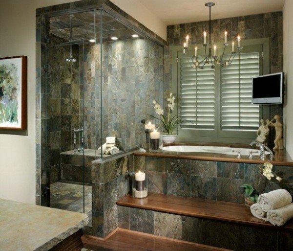 salle de bain tendance en pierre naturelle