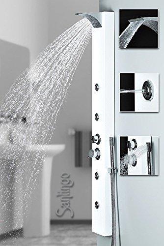 colonne de douche Sanlingo blanche avec jets de massage