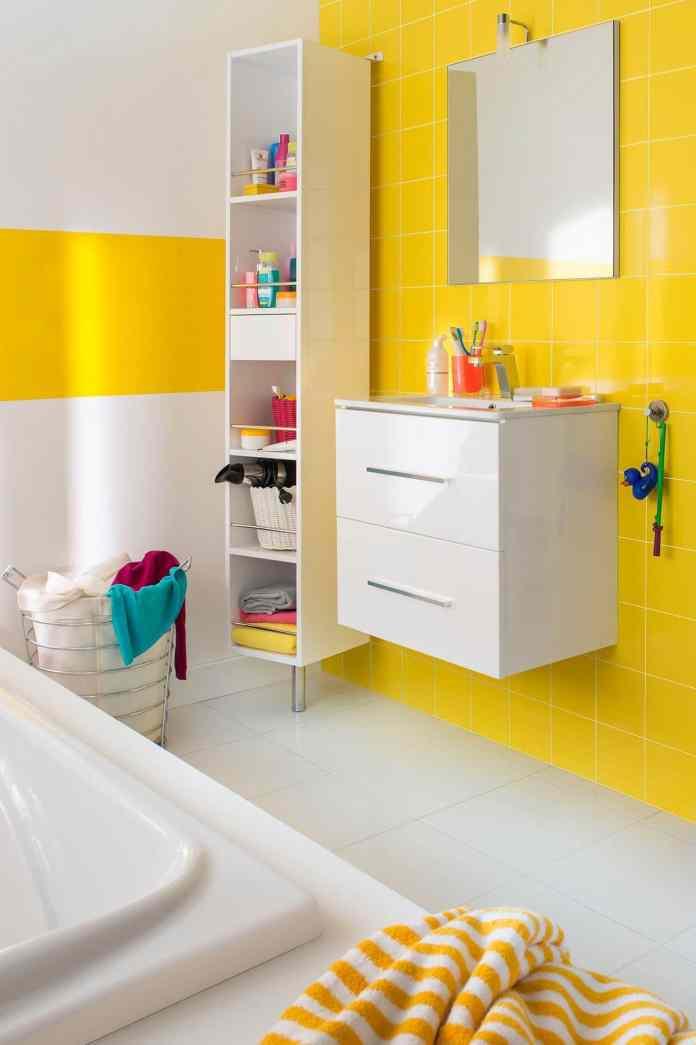 Salle de bain carrelage vitaminée