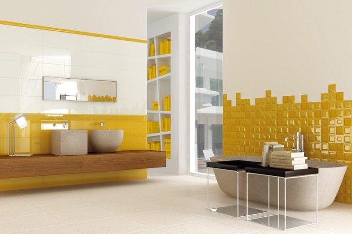Salle de bain jaune moutarde