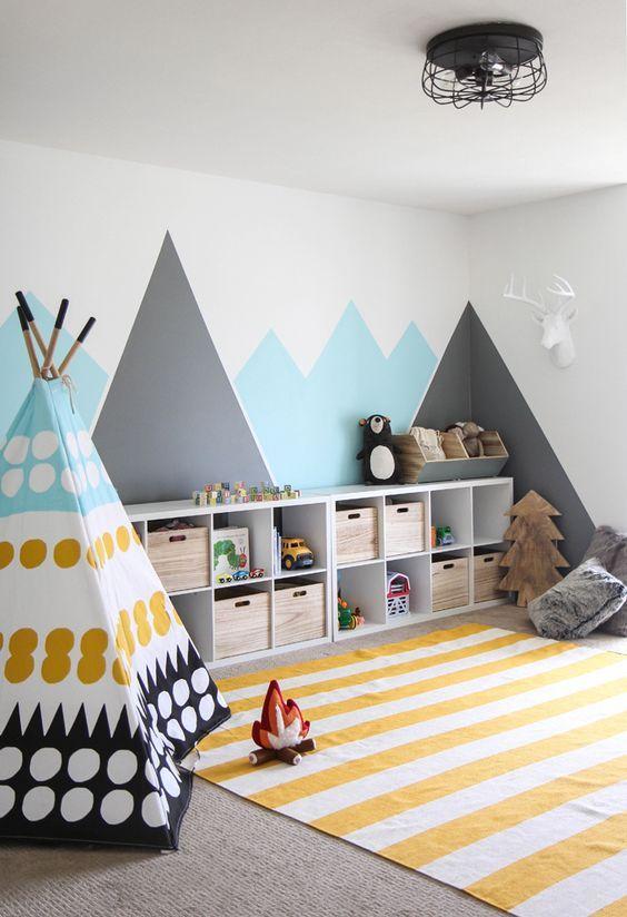 aménager une aire de jeu dans une chambre de garçon