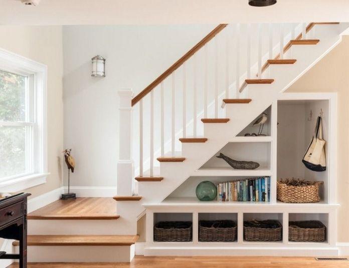 aménagement de l'espace sous un escalier droit