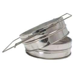 Filtro doppio inox, con fondo piatto e manici estensibili Ø 205 mm per miele