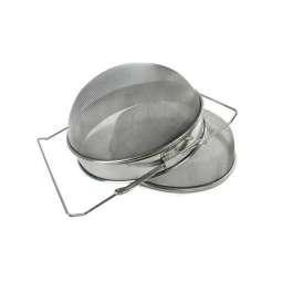 Filtro doppio convesso inox da 24cm, per filtraggio miele con manici estensibili